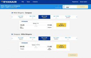 letecké spojenie Bratislava-Bergamo (Miláno)-Zaragoza