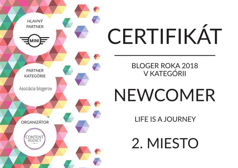 Certifikát Bloger roka 2018 - 2. miesto