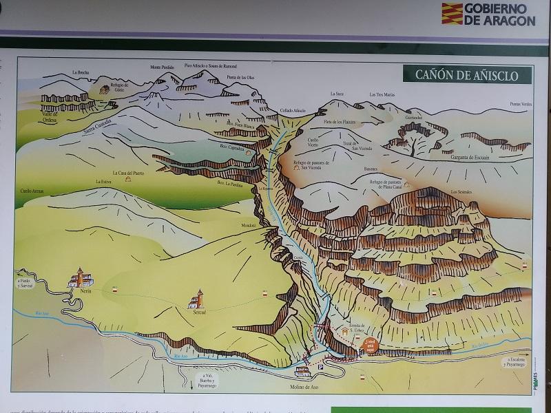 Mapa Canon de Anisclo Vylet v Pyrenejach