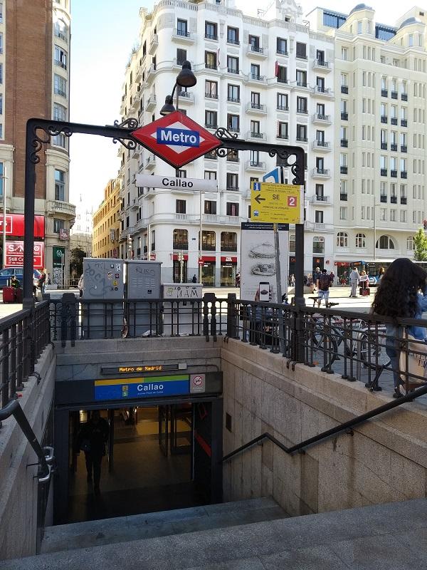 Zastavka metra Callao v centre Madridu